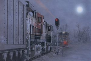 """""""Midnight Run"""" by Greg Garrett Trains stacked up waiting for their next move on an eerie moonlit night."""